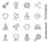 thin line icon set   rocket ...