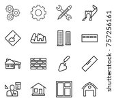 thin line icon set   gear ... | Shutterstock .eps vector #757256161