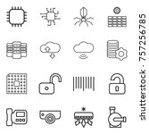 thin line icon set   chip ... | Shutterstock .eps vector #757256785