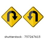 u turn warning road sign yellow ... | Shutterstock .eps vector #757267615