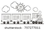 train set  three wagons... | Shutterstock .eps vector #757277011