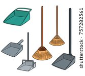 vector set of broom and dust pan | Shutterstock .eps vector #757282561