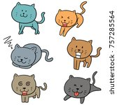 vector set of cats | Shutterstock .eps vector #757285564