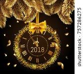 gold glitter disco vector 2018...   Shutterstock .eps vector #757286275