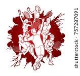 tennis players   men and women... | Shutterstock .eps vector #757287091