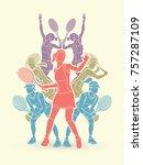 tennis players   women action... | Shutterstock .eps vector #757287109