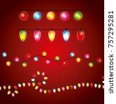 christmas differents garland...   Shutterstock .eps vector #757295281