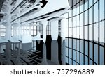abstract dynamic interior with... | Shutterstock . vector #757296889