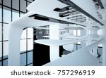 abstract dynamic interior with... | Shutterstock . vector #757296919