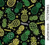 pineapple seamless background | Shutterstock .eps vector #757298461