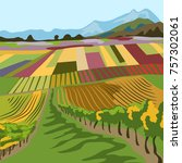 landscape with vineyards....   Shutterstock .eps vector #757302061