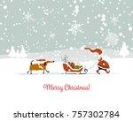Santa Claus With Dog  Symbol O...