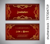 luxury wedding invitation with... | Shutterstock .eps vector #757304719