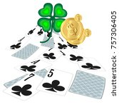 playing cards and four leaf...   Shutterstock .eps vector #757306405