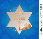 happy hanukkah greeting card...   Shutterstock .eps vector #757311301