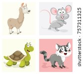 cartoon animals set | Shutterstock .eps vector #757311325