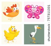 cartoon animals set | Shutterstock .eps vector #757311331
