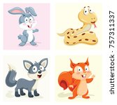 cartoon animals set | Shutterstock .eps vector #757311337