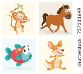 cartoon animals set | Shutterstock .eps vector #757311649