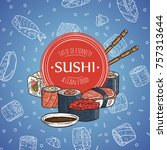 doodle sushi restaurant and... | Shutterstock . vector #757313644