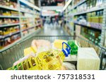 store basket full with food... | Shutterstock . vector #757318531