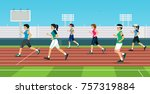 female runners are competing in ... | Shutterstock .eps vector #757319884