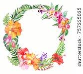 watercolor tropical wreath... | Shutterstock . vector #757325035