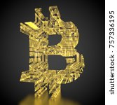 3d rendering  golden currency... | Shutterstock . vector #757336195