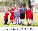 kids soccer football   young... | Shutterstock . vector #757337455