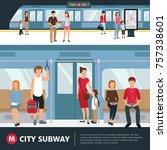people in city subway inside...   Shutterstock . vector #757338601