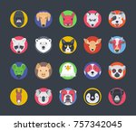 set of animal avatars | Shutterstock .eps vector #757342045