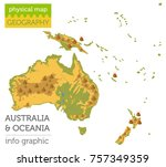 australia and oceania physical... | Shutterstock .eps vector #757349359