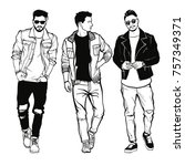 vector drawing of three fashion ... | Shutterstock .eps vector #757349371