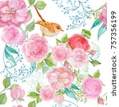 seamless pattern watercolor... | Shutterstock . vector #757356199