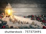 cozy christmas arrangement with ... | Shutterstock . vector #757373491