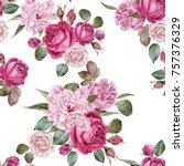 Stock photo floral seamless pattern with watercolor roses and peonies 757376329