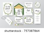 wedding invite  menu  rsvp ... | Shutterstock .eps vector #757387864