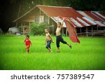 children runing in the backyard ... | Shutterstock . vector #757389547