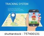 hand holding mobile smart... | Shutterstock .eps vector #757400131