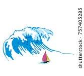 big wave over the boat  cartoon ...