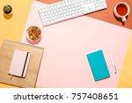 modern feminine home workspace. ... | Shutterstock . vector #757408651