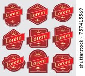 set of bottle label design  ... | Shutterstock .eps vector #757415569