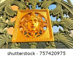 detail of a gold decorated... | Shutterstock . vector #757420975