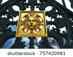 detail of a gold decorated... | Shutterstock . vector #757420981