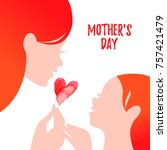 beautiful mom silhouette with... | Shutterstock .eps vector #757421479