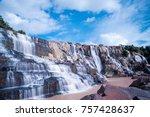 pongour waterfall. a famous...   Shutterstock . vector #757428637
