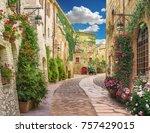 flolar  old italy street | Shutterstock . vector #757429015