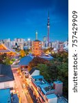 tokyo. cityscape image of tokyo ... | Shutterstock . vector #757429909