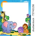 frame with tropical animals 1   ... | Shutterstock .eps vector #75743158
