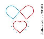line medical pill to love... | Shutterstock .eps vector #757433881